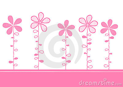 Pink flowers invitation card