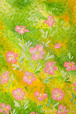 Pink flowers over green background