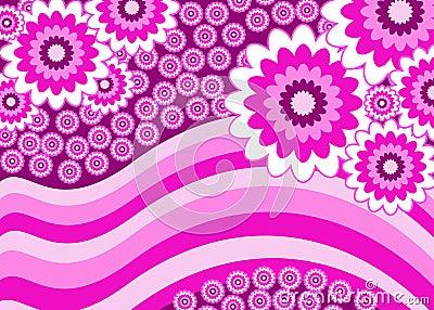 Pink flowers stripey banner
