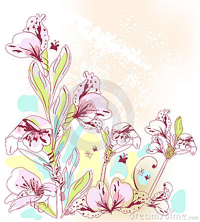 Pink Flowers in watercolor