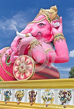 Pink ganesha largest statue in Thailand