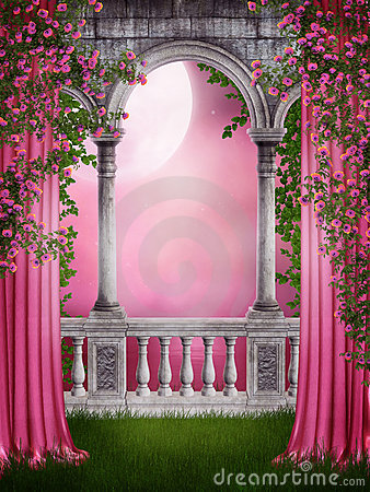 Free Pink Garden With Curtains Stock Images - 19008834