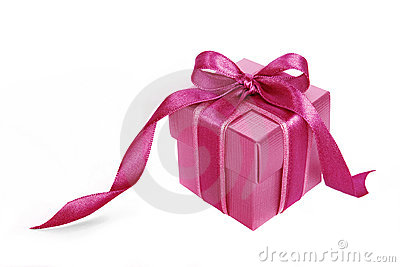 Pink gift box with Pink ribbon on white