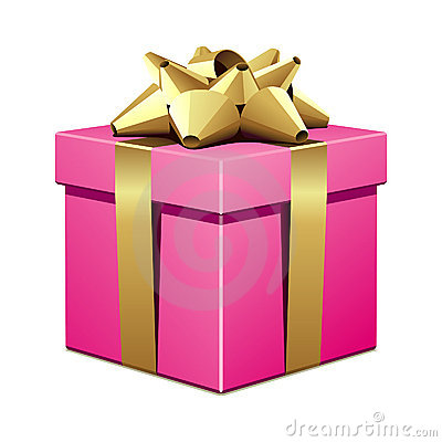 Pink gift with gold bow