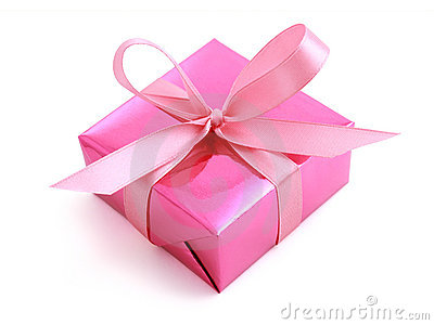 Pink gift wrapped present with rosy satin ribbon bow isolated on white ...