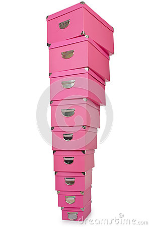 Pink giftboxes  on white