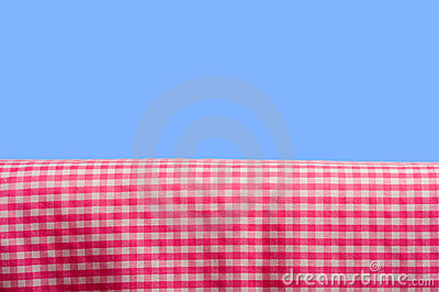 Pink Gingham On Blue Sky