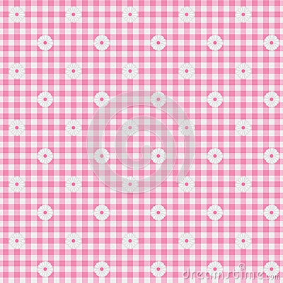 Pink Gingham Fabric with Flowers Background