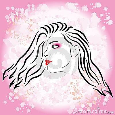 Pink girl fashion silhouette