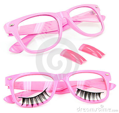 Pink glasses false eyelashes fake nails