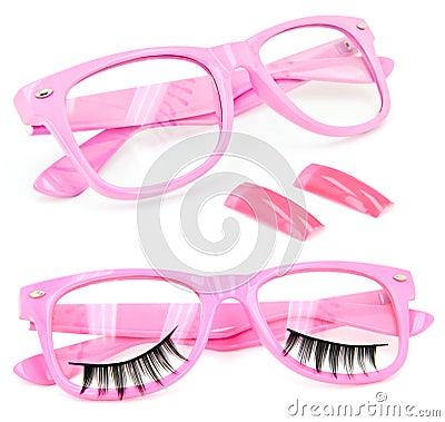 Pink glasses false eyelashes fake nails