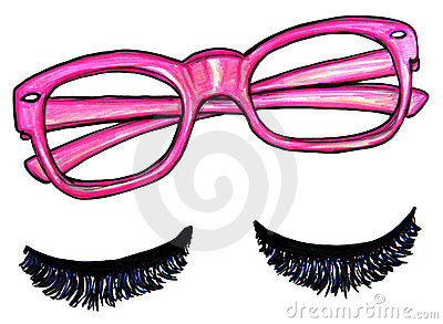 Pink Glasses false eyelashes illustration