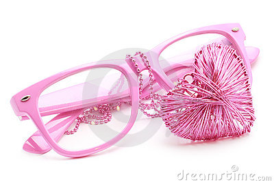 Pink Glasses and Heart Necklace