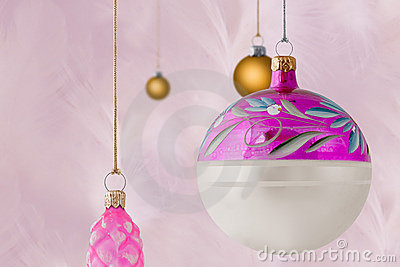 Pink And Gold Christmas Baubles