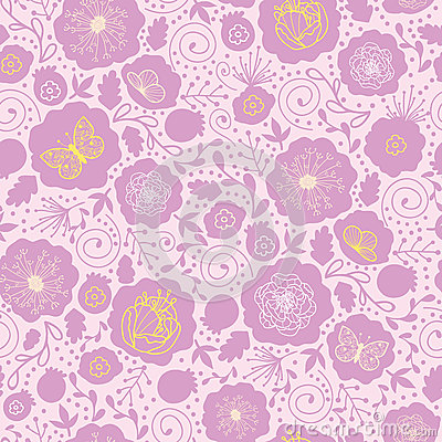 Pink and gold florals seamless pattern background