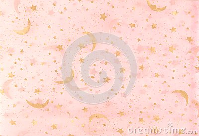 Pink And Gold Moon Star Texture Royalty Free Stock Photo ...