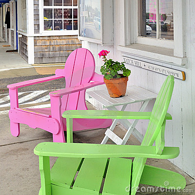 Pink and green chairs Watch Hill Rhode Island USA