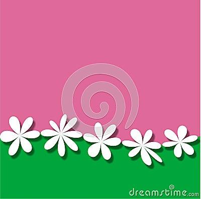 Pink Green White Flower Frame wallpaper background