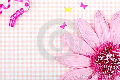 Pink greeting card with flower