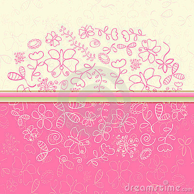 Pink Greeting Card with Flower and Butterfly