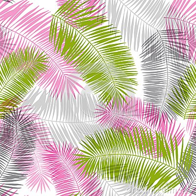 Free Pink, Grey And Green Palm Leaves Seamless Pattern Royalty Free Stock Photography - 118758917