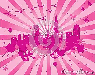 Pink grunge city