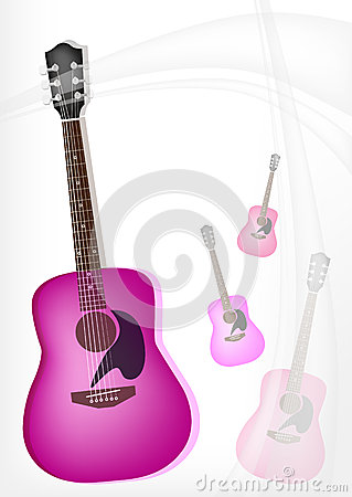 A Pink Guitar on Modern Elegance Background