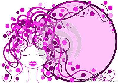 Pink Hair Girl Frame border