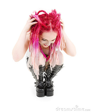 Pink hair girl in high boots