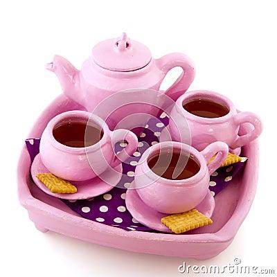 Pink handcraft crockery