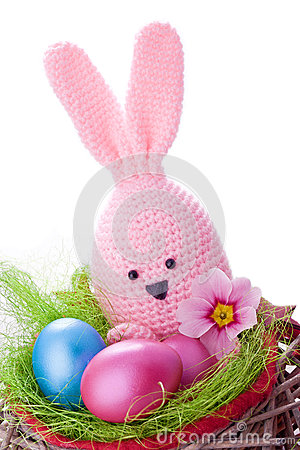 Free Pink Handmade Easter Bunny Stock Photography - 29899742