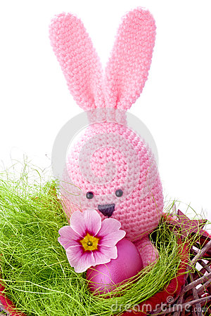 Free Pink Handmade Easter Bunny With Easter Eggs Royalty Free Stock Photo - 30026525