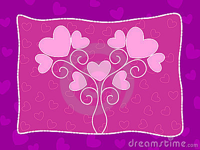 Pink heart background with love illustration