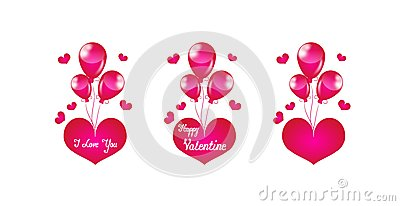 Pink heart with balloons
