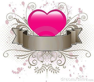 Pink heart and banner