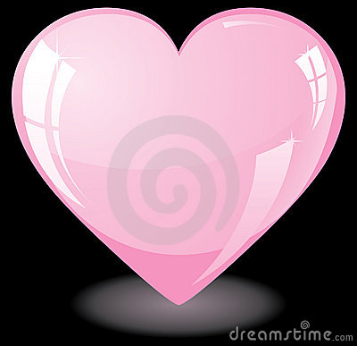 Pink heart on black background
