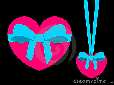 Pink heart with blue ribbon