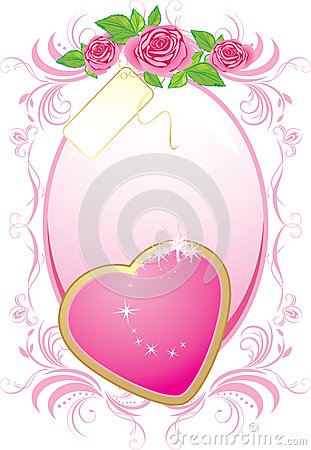 Pink heart and bouquet of roses in the frame