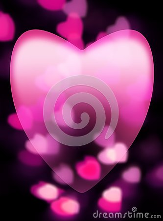 Pink heart fades into dark background