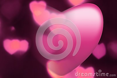 Pink heart fades into out-of-focus hearts