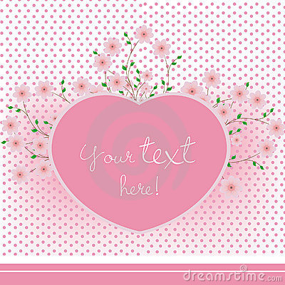 Pink heart with flowers card