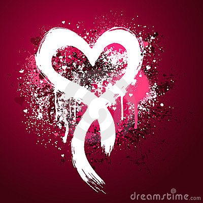 Pink heart grunge design