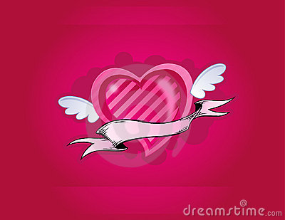 Pink heart with little wings