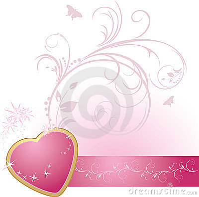Pink heart with ornament on the decorative ribbon