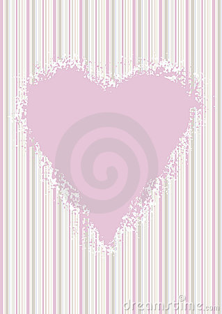 Pink heart on pastel candy stripes