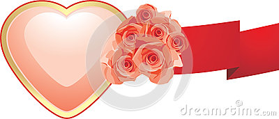 Pink heart with roses and red ribbon