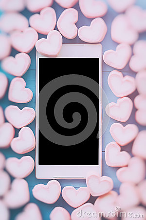 Free Pink Heart Shape Marshmallow For Love Theme And Valentine Backgr Royalty Free Stock Photos - 82706198