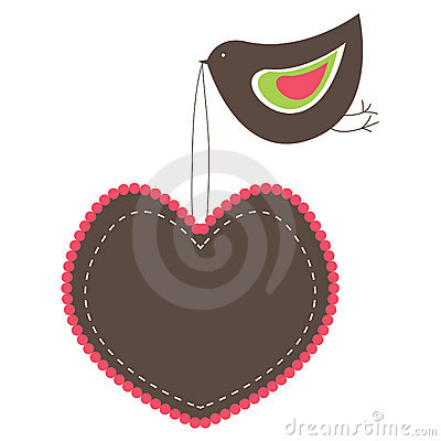 Pink Heart Shaped banners with  bird.