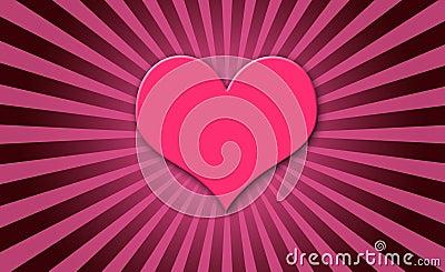 Pink heart sun burst