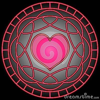 Pink Heart & Swirls